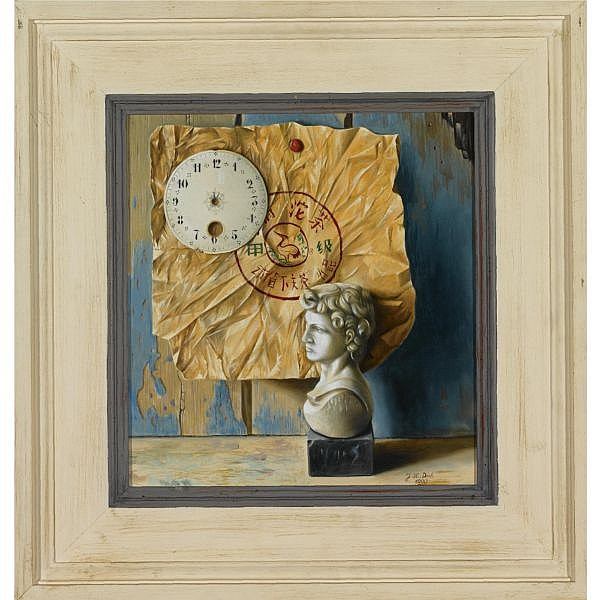m - Jef Diels Belgian,b. 1952 , trompe l'oeil oil on board