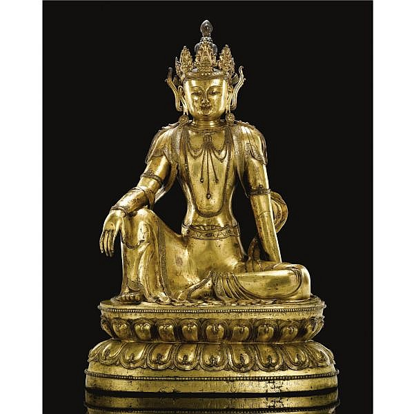A MAGNIFICENT AND VERY RARE INSCRIBED GILT BRONZE FIGURE OF AVALOKITESVARA   MING DYNASTY, XUANDE PERIOD, DATED 1435
