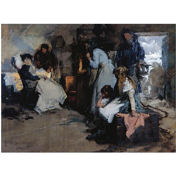 Frank Bramley, R.A. , 1857-1915 sketch for saved oil on canvas