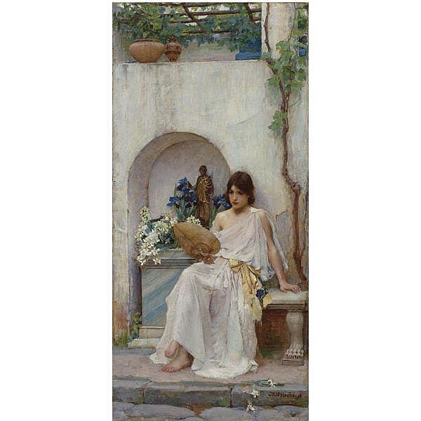 - John William Waterhouse, R.A., R.I. , 1849-1917 flora oil on canvas