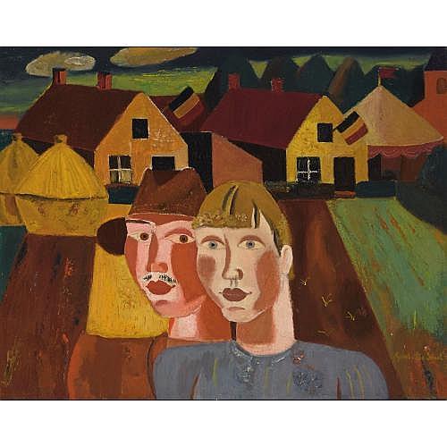 Gustave de Smet (1877-1943) , het echtpaar - le couple au village