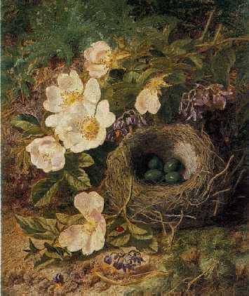 THOMAS WORSEY (1829-75) STILL LIFE FROM THE HEDGEROW