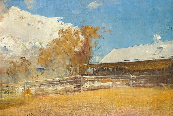 TOM ROBERTS , Australian 1856-1931 SHEARING SHED, NEWSTEAD Oil on panel