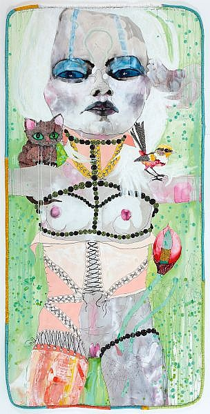 DEL KATHRYN BARTON , Australian 1972 - PUNK, SPUNK AND GREEN RAIN FOR THE HEART   Watercolour, gouache, ink on paper with satin and cotton border
