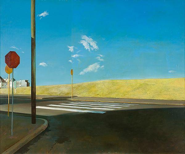 - BRYAN WESTWOOD , Australian 1930-2000 THE CROSSING Oil on canvas