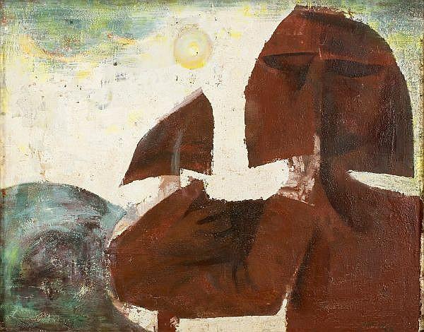JON MOLVIG , Australian 1923 - 1970 GRAVEDIGGER NO. II   Oil on composition board