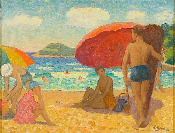 - ROLAND WAKELIN , Australian 1887-1971 BEACH SCENE, MANLY Oil on board