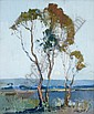 Sydney Long , Australian 1871-1955 MOONRISE, NARRABEEN Oil on canvas on board   , Sydney Long, Click for value