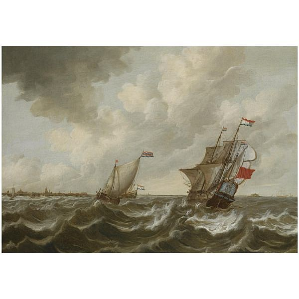 Pieter Jansz. Coopse , Hoorn 1638 - 1673   Dutch shipping in stormy waters, off the coast of Middelburg, with a view of Vlissingen and the Fort Rammekens in the distance oil on canvas
