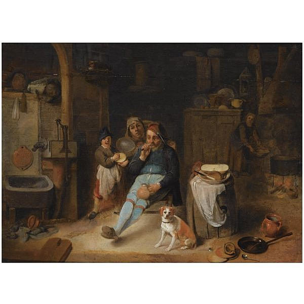 Pieter Jacobsz. Duyfhuysen , Rotterdam 1608 - 1677 A barn interior with a peasant seated holding a jug, a young boy holding a rumbling-pot, other figures, and a dog next to kitchen utensils in the foreground oil on panel
