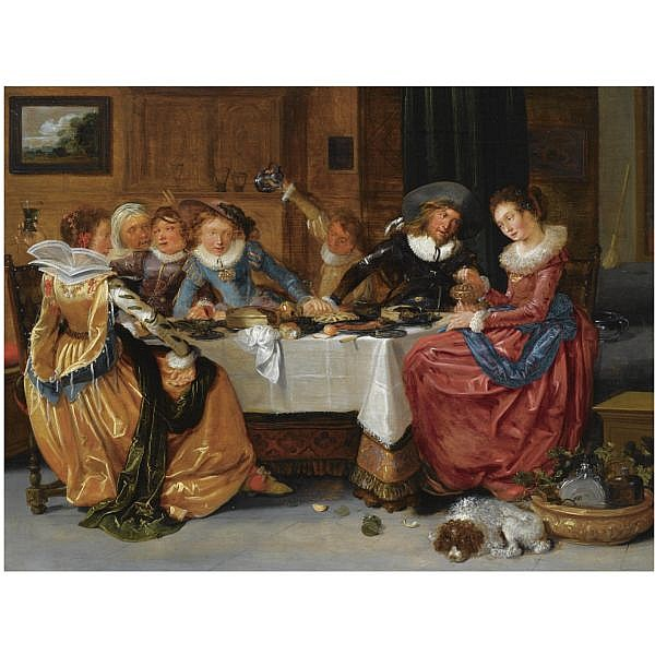Hendrik Gerritsz. Pot , Amsterdam 1580/81 - 1657   An elegant merry company, seated around an abundantly laid table, drinking, in a richly decorated interior oil on panel, the reverse with an unidentified panel maker's mark