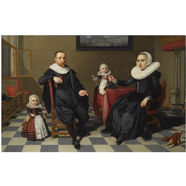 Jan Daemen Cool , Rotterdam 1589 - 1660 A portrait of a gentleman and his wife seated at a table with their two young children, all full length, in an interior with a marine painting on the wall in the background oil on panel