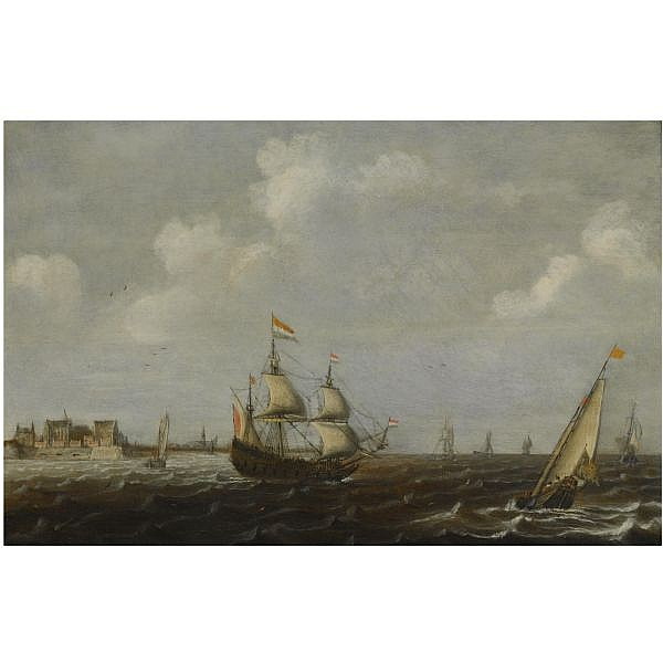 Claes Claesz. Wou , Amsterdam circa 1592-1665 A Dutch threemaster and other shipping in choppy waters, a view of Fort Rammekens off the coast of Vlissingen in the background oil on panel