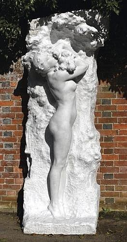 FELIX-MAURICE CHARPENTIER, (1858-1924, AN IMPORTANT AND UNIQUE CARVED WHITE MARBLE FIGURE OF A NAKED GIRL 236cm.; 93ins high the base titled in Languedoc French 'Flours Que Amavo' and signed F Charpentier 1912, the top with carved Salon number H5943