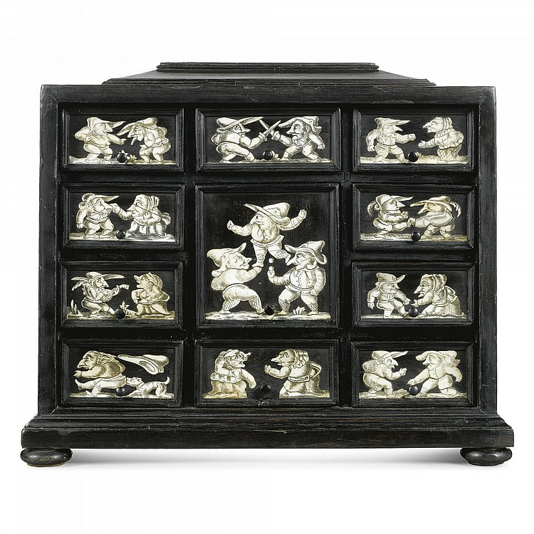 AN ITALIAN ENGRAVED BONE INLAID EBONISED AND MARQUETRY TABLE CABINET DEPICTING SCENES AFTER BACCIO DEL BIANCO (1604-1656) MID 17TH CENTURY