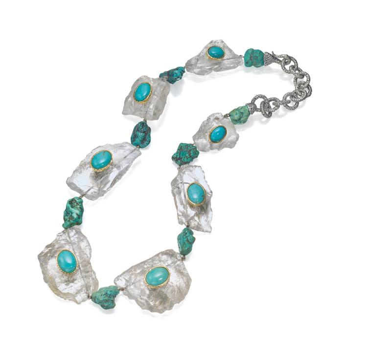 SILVER, 18 KARAT GOLD, ROCK CRYSTAL AND TURQUOISE NECKLACE, TONY DUQUETTE