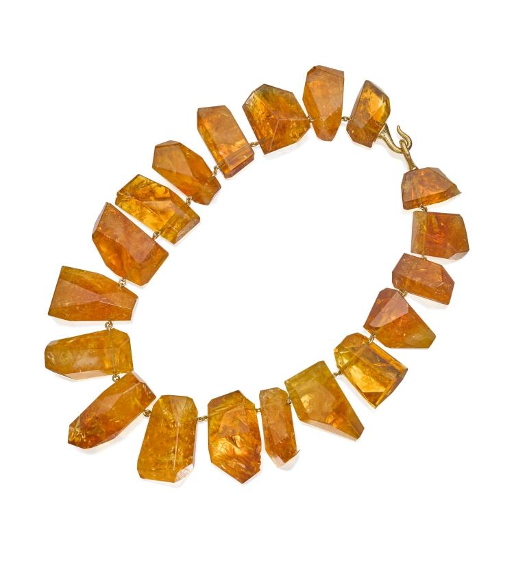 18 KARAT GOLD AND CITRINE NECKLACE, TONY DUQUETTE