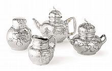 AN AMERICAN SILVER FOUR-PIECE JAPANESE STYLE TEA SET, TIFFANY & CO., NEW YORK, CIRCA 1880 |