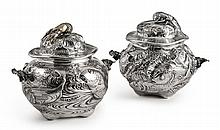TWOMATCHING SILVER JAPANESE STYLE MARINE-THEME SOUP TUREENS AND COVERS, GORHAM MFG. CO., PROVIDENCE, RI, 1883 |
