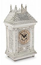 AN AMERICAN SILVER MANTLE CLOCK, GORHAM MFG. CO., PROVIDENCE, RI, CIRCA 1889 |