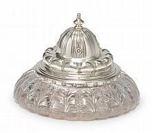 AN AMERICAN SILVER AND CUT-GLASS INKWELL, TIFFANY & CO., NEW YORK, CIRCA 1893 |