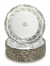 A SET OF EIGHTEEN AMERICAN SILVER DINNER PLATES, TIFFANY & CO., NEW YORK, EARLY 20TH CENTURY |