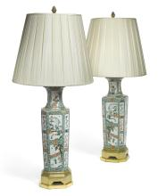 A PAIR OF GILT-BRONZE-MOUNTED CHINESE FAMILLE-VERTE VASES,<BR>QING DYNASTY, 19TH CENTURY  