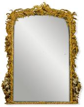 A LARGE TWO-TONE GILTWOOD GESSO OVERMANTEL MIRROR, POSSIBLY EXECUTED BY MORANT AND SONS, SECOND QUARTER 19TH CENTURY |