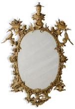 A GEORGE II CARVED AND PAINTED MIRROR, MID-18TH CENTURY, IN THE MANNER OF THOMAS JOHNSON |