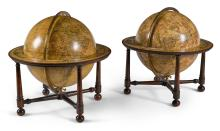 A MATCHED PAIR OF GEORGE III 12-INCH TERRESTRIAL AND CELESTIAL GLOBES, THE TERRESTRIAL GLOBE BY FERGUSON, THE CELESTIAL GLOBE BYWRIGHT |