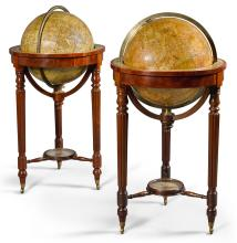 A PAIR OF VICTORIAN 18 INCH TERRESTRIAL AND CELESTIAL GLOBES BY MALBY, CIRCA 1866 |