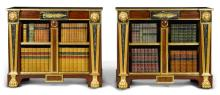 A PAIR OF REGENCY REVIVAL GILT BRASS MOUNTED MAHOGANY AND PARCEL-GILT OPEN BOOKCASES |