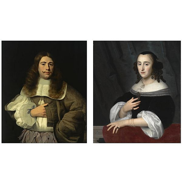 Isaack Luttichuys London 1616 - 1673 Amsterdam , A portrait of Andries Rijckaert (1636-1716), standing half-length, wearing a brown coat with a white lace collar and purple ribbons; A portrait of his sister Susanna Rijckaert (born 1635), half length,