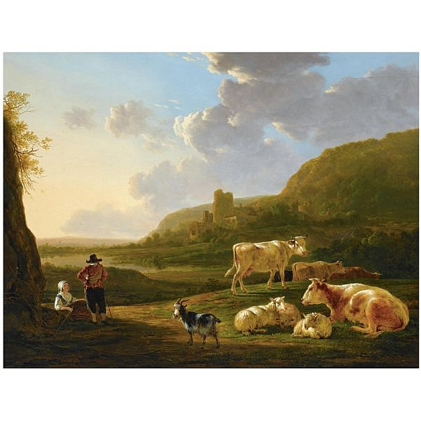 Jacob van Strij Dordrecht 1756 - 1815 , a southern river landscape with shepherds resting with their herd, a view of a ruin beyond oil on panel
