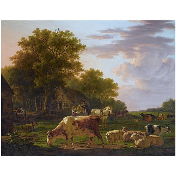 Jacob van Strij Dordrecht 1756 - 1815 , a landscape with cows and sheep near a farmhouse, a man in a horse-drawn cart handing over a copper jug to a woman, two women washing clothes to the left oil on mahogany panel