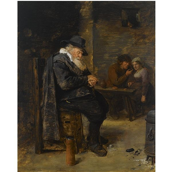 Adriaen Brouwer Oudenaarde (?) 1605/6 - 1638 Antwerp , An elderly man sleeping in an inn with an amorous couple in the background oil on panel