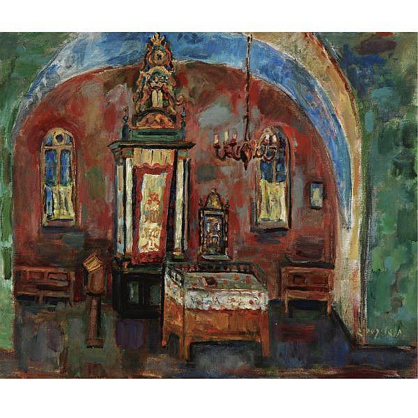 q - Chaim Gliksberg 1904 - 1970 , Abuhab Synagogue, Safed oil on canvas