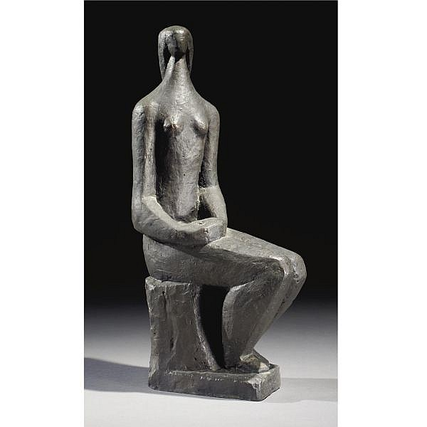 Dov Feigin 1907-2000 , Seated Woman bronze with dark brown patina