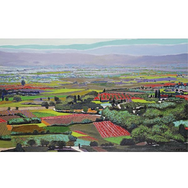 q - Oded Feingersh b. 1938 , Jezreel Valley oil on canvas