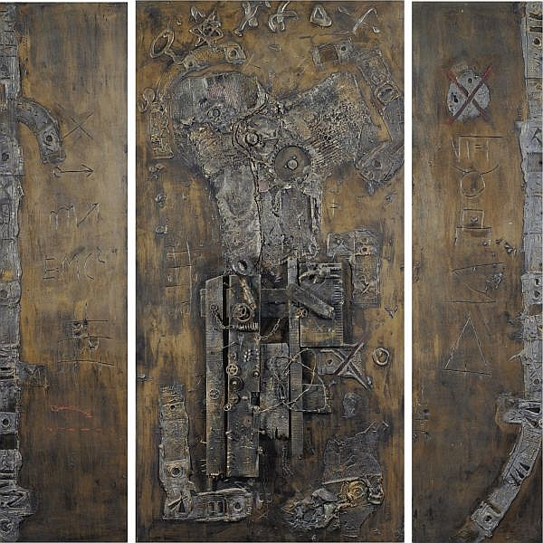 Igael Tumarkin b. 1933 , Triptych oil and mixed media on wood including brass elements