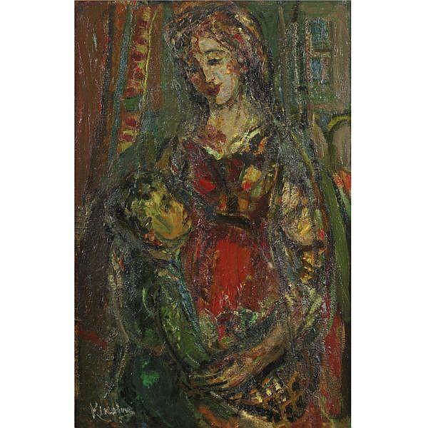 Michel Kikoïne 1892-1968 , Tendresse Maternelle oil on masonite