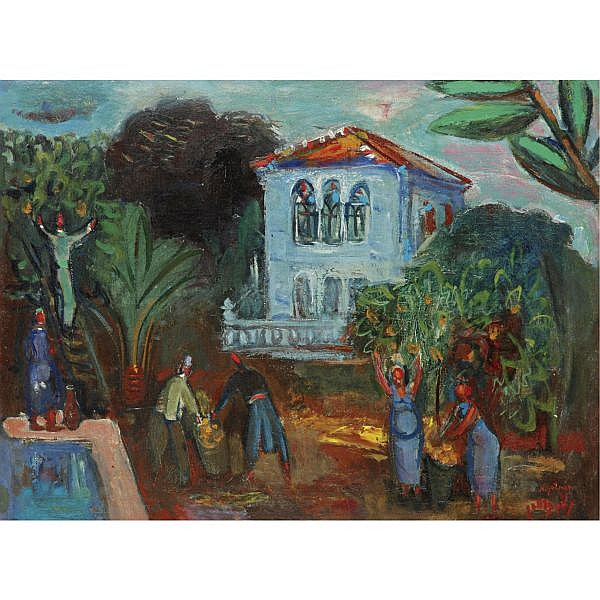 q - Nachum Gutman 1898-1980 , Orange Picking in Neve Zedek oil on canvas