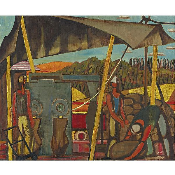 Yohanan Simon 1905-1976 , Harvest in the Kibbutz oil on canvas