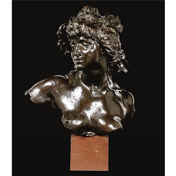 - Jules Desbois , French 1851-1935 La Vigne (The Vine) bronze, dark reddish brown patina on a veined red marble base