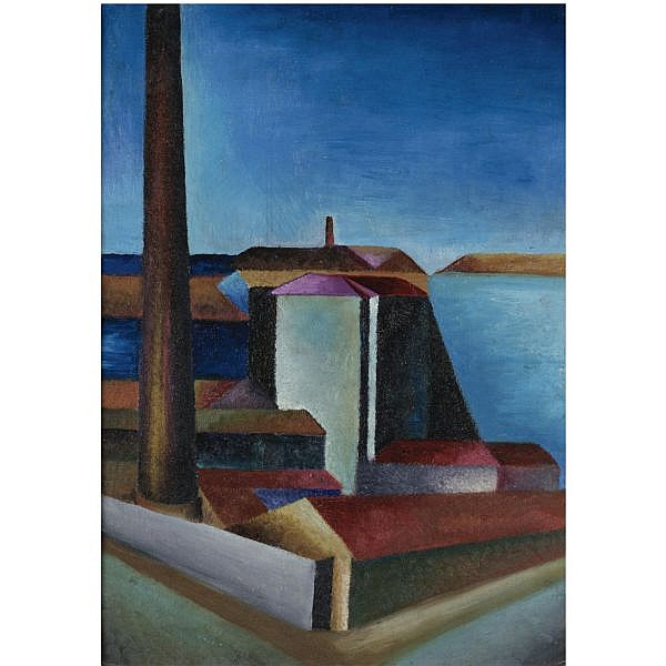 - Aligi Sassu , 1912-2000 Paesaggio milanese olio su cartone telato