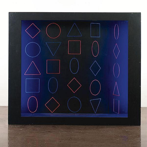 Hugo Demarco (1932-1995) , Nº 100, Formes Virtuelles painted wood box with painted metal and light tubes