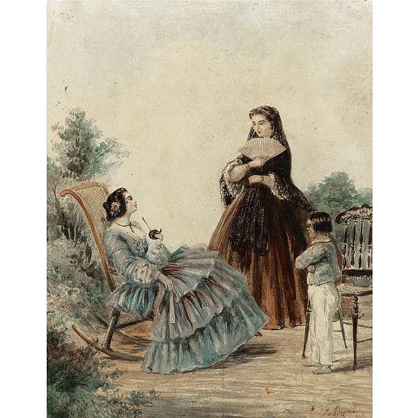 Juan León Pallière (1823-1887) , Tomando Mate watercolor on paper