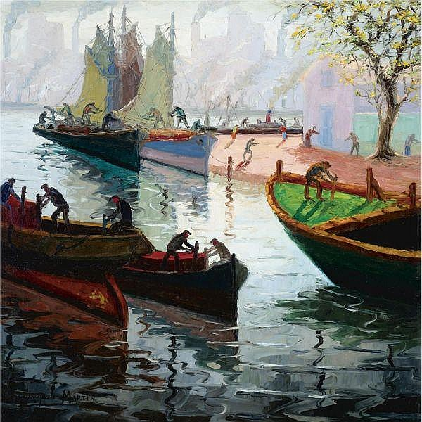Benito Quinquela Martín (1890-1977) , Primavera en la Boca oil on canvas laid down on wood