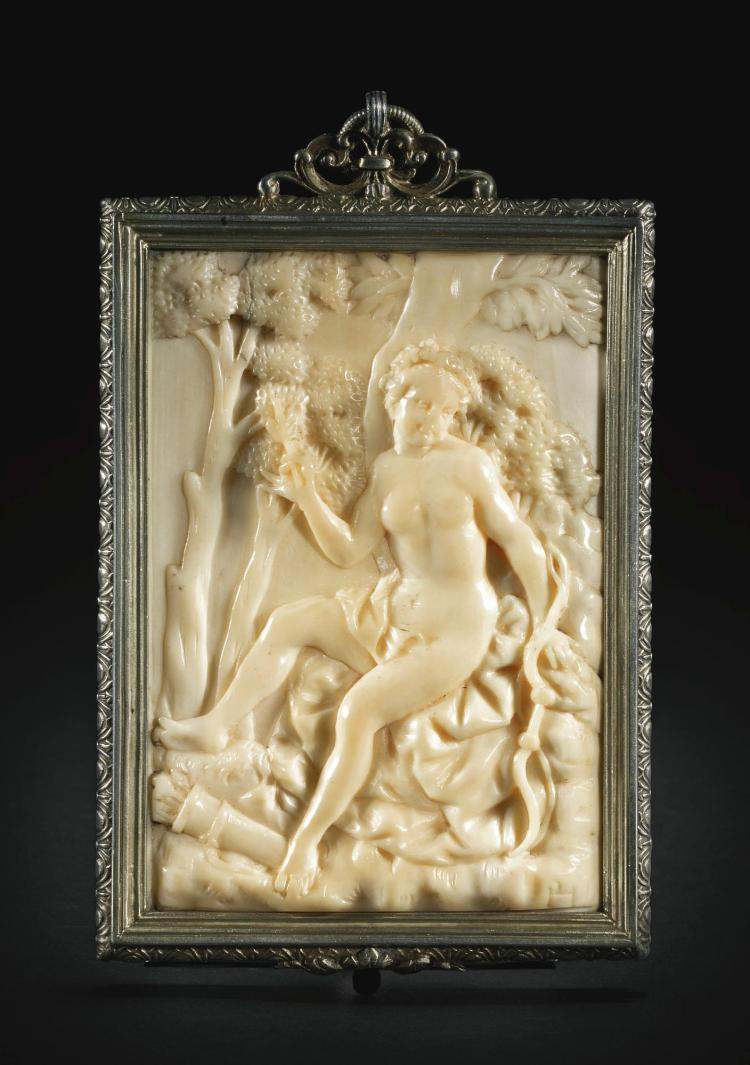 ATTRIBUTED TO PAUL HEERMANN (1673-1732)<BR />GERMAN, DRESDEN, EARLY 18TH CENTURY | Relief with Diana