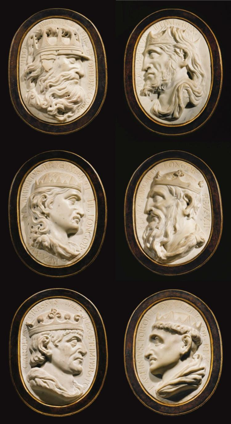 ATTRIBUTED TO GIOVANNI BONAZZA (1654-1736)<BR />NORTHERN ITALIAN, CIRCA 1700 | Six Reliefs with Dark Age Kings of Italy
